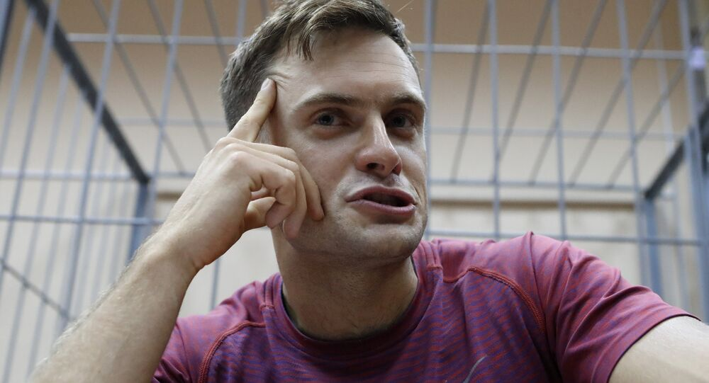 Pyotr Verzilov durante audiência em Moscou no dia 16 de julho (foto de arquivo)