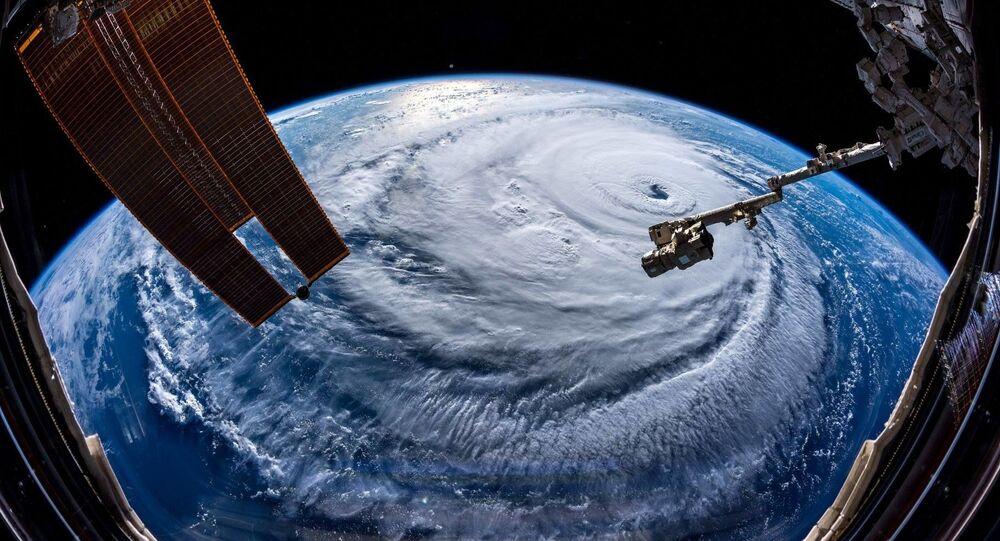Foto do furacão Florence tirada pelo astronauta Alexandr Gerst a partir da Estação Espacial Internacional