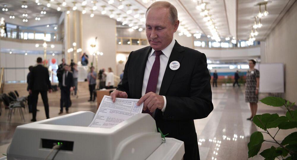 Presidente da Federação da Rússia, Vladimir Putin, durante votação para prefeito de Moscou, em 9 de setembro de 2018
