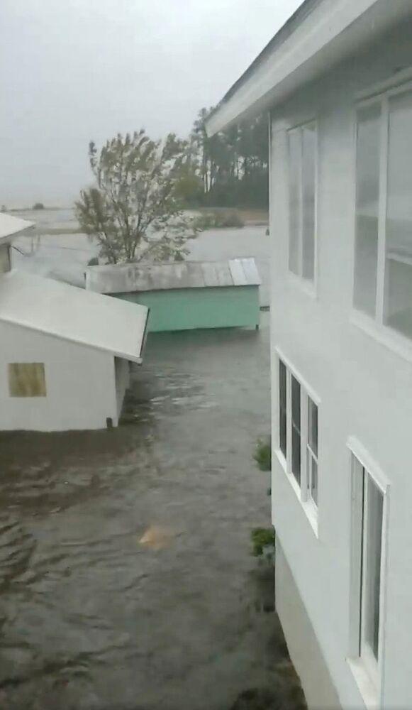 Inundação causada pelo furacão Florence em Belhaven, Carolina do Norte