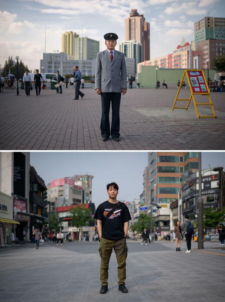 Estudante norte-coreano de 23 anos de idade, Pak Kum Ryong (acima), em Pyongyang e estudante sul-coreano Lim Jun-beom de 24 anos (abaixo) em Seul