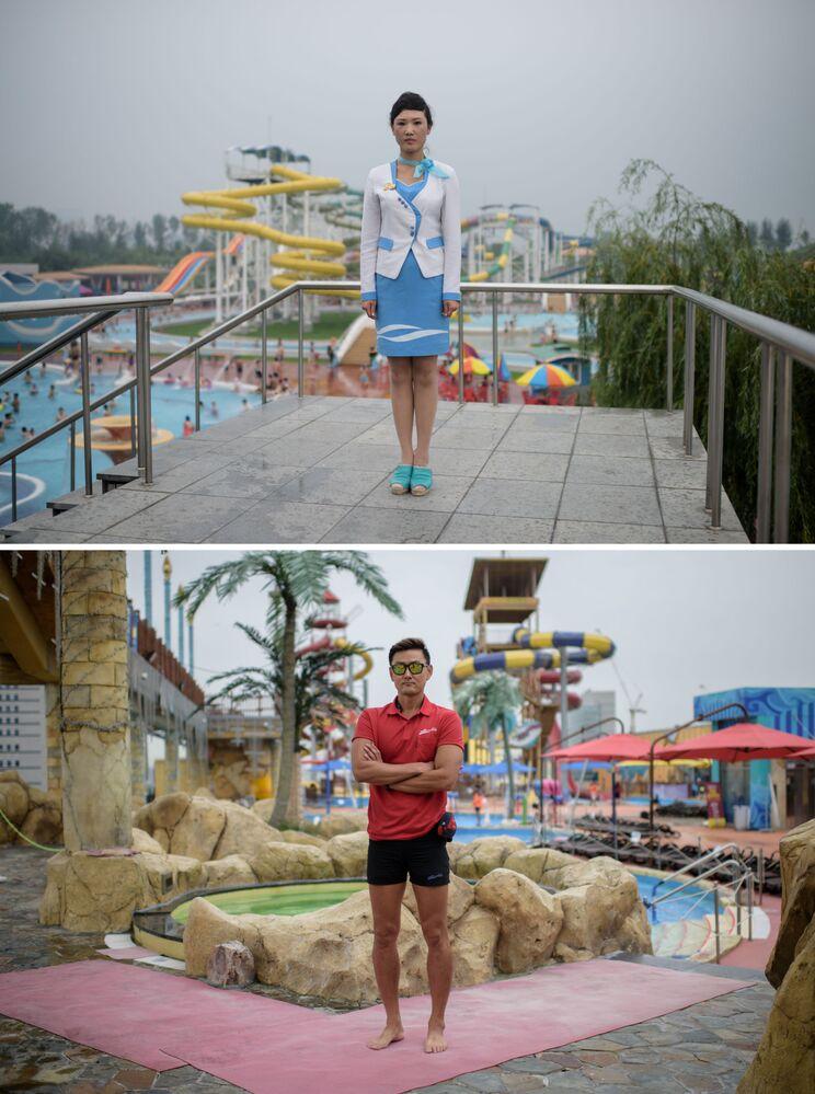 Funcionária norte-coreana Choe Un Hwa (acima), do parque aquático de Pyongyang e salva-vidas sul-coreano Kim Young-hoon (abaixo), no parque aquático de Ilsan