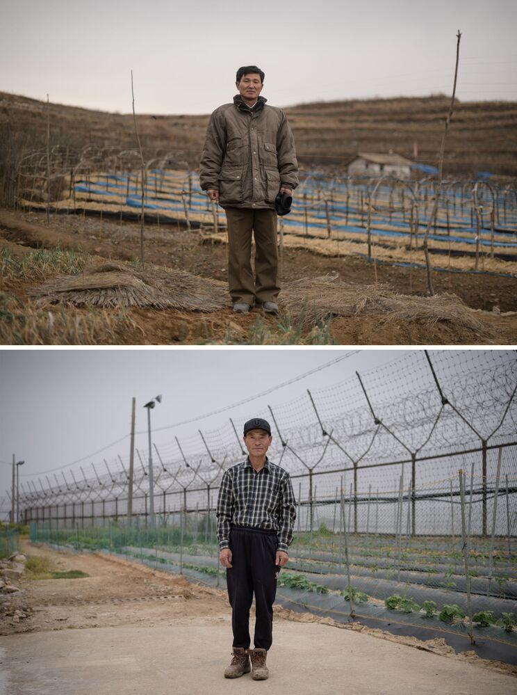Gerente da fazenda, Kim Young Guk (acima), na cidade norte-coreana de Kaesong e o agricultor sul-coreano Hwang In-suk (abaixo) em frente à zona desmilitarizada