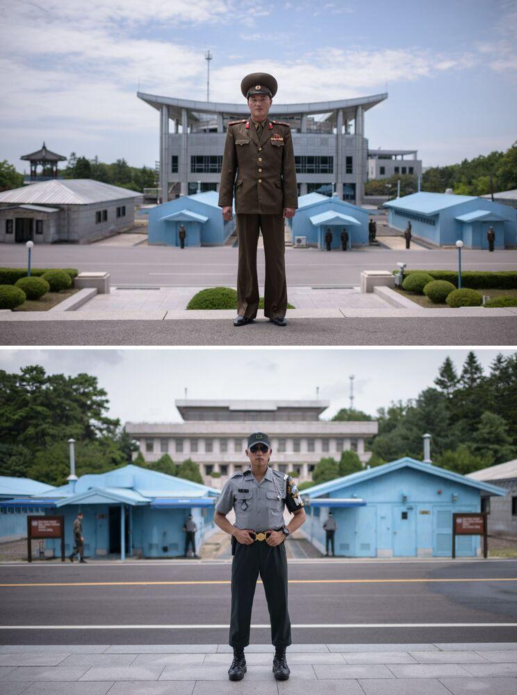 Guardas fronteiriços norte-coreano (acima) e sul-coreano (abaixo), em lados opostos da fronteira