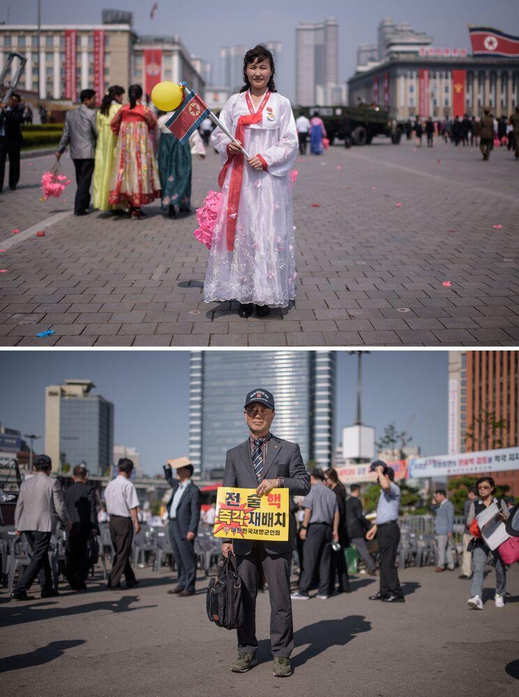 Manifestantes norte-coreana em Pyongyang (acima) e sul-coreano em Seul (abaixo)