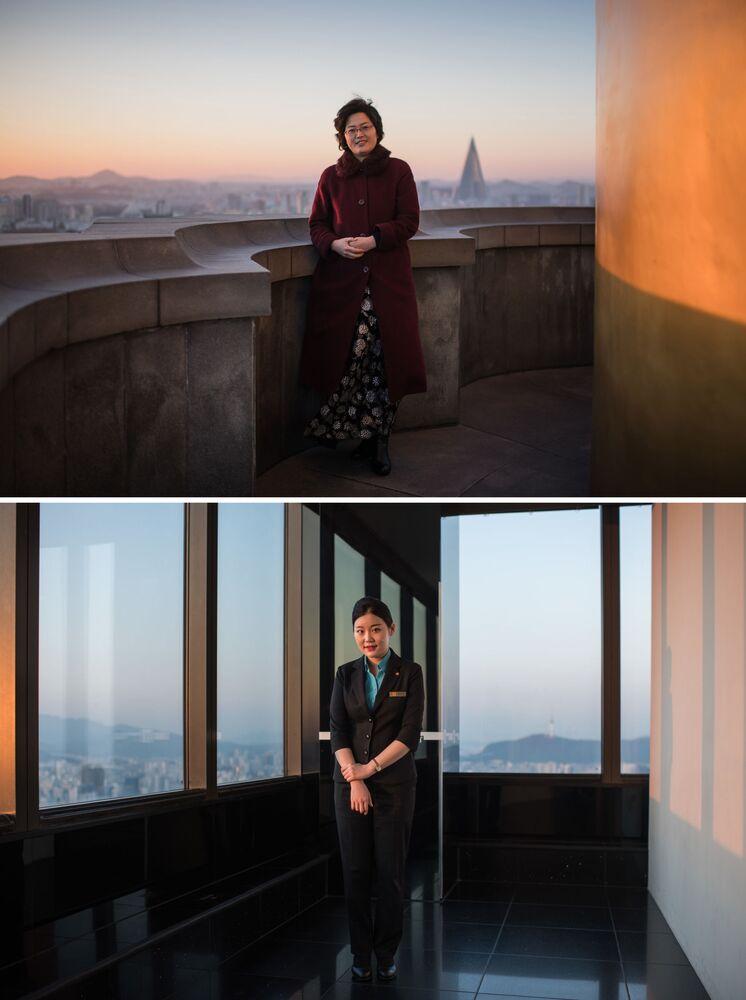 Guias turísticas norte-coreana em Pyongyang (acima) e sul-coreana em Seul (abaixo)