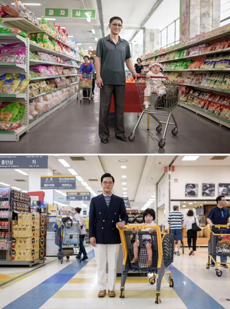 Pais com crianças em supermercados na capital norte-coreana de Pyongyang (foto acima) e na capital sul-coreana de Seul (foto abaixo)