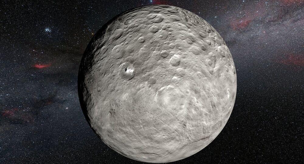 Imagem artística dos pontos brilhantes de Ceres registrados pela estação interplanetária Dawn