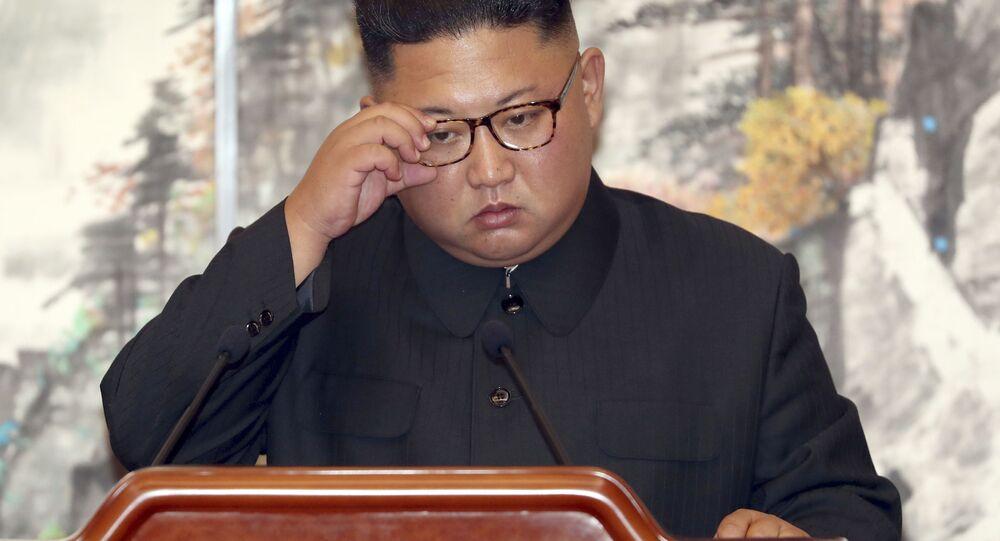 Presidente norte-coreano, Kim Jong-un, durante a assinatura de acordo conjunto com a Coreia do Sul, em Pyongyang (Coreia do Norte)