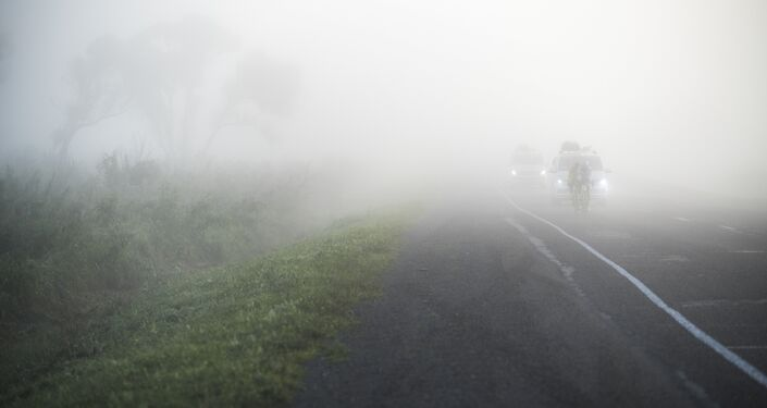 O ciclista brasileiro Marcelo Florentino enfrenta neblina durante a Red Bull Trans-Siberian Extreme