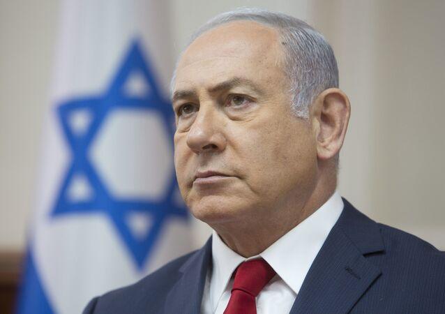 Primeiro-ministro israelense, Benjamin Netanyahu, na reunião semanal de gabinete em Jerusalém, 16 de setembro de 2018