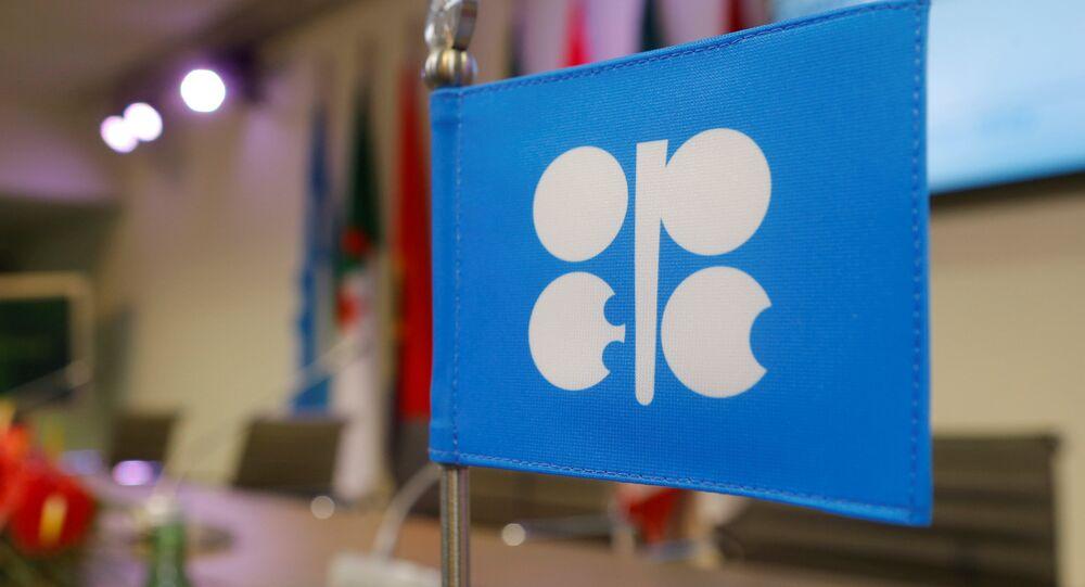 Uma bandeira com o logotipo da Organização dos Países Exportadores de Petróleo (OPEP) fotografada durante uma coletiva de imprensa na sede da OPEP em Viena, Áustria.