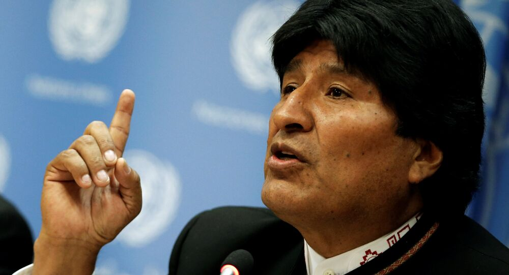 Presidente da Bolívia, Evo Morales, fala em coletiva de imprensa após discursar em  sessão especial da Assembleia Geral das Nações Unidas