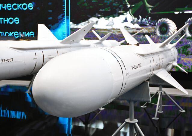 Míssil antinavio tático Kh-35UE na Mostra Internacional Técnico-Militar EXÉRCITO 2017, 27 de agosto de 2017 (imagem referencial)