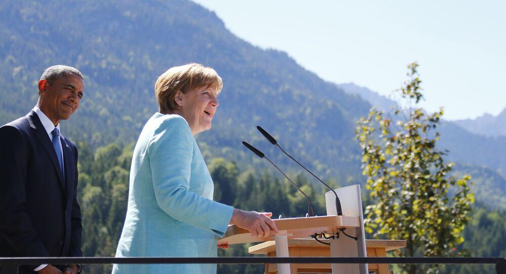 Barack Obama e Angela Merkel em encontro com cidadãos alemães antes da cúpula do G7
