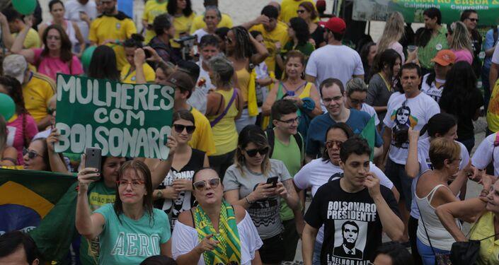 Ato em defesa de Jair Bolsonaro no Rio de Janeiro.