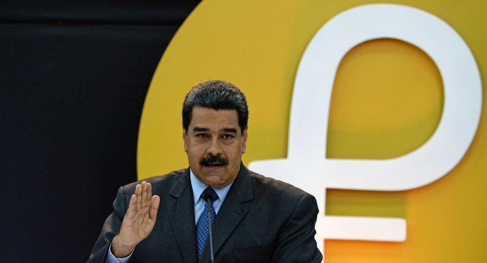Presidente da Venezuela, Nicolás Maduro, apresenta a criptomoeda petro