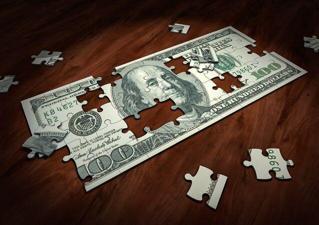 Quebra-cabeça de uma nota de 100 dólares dos EUA