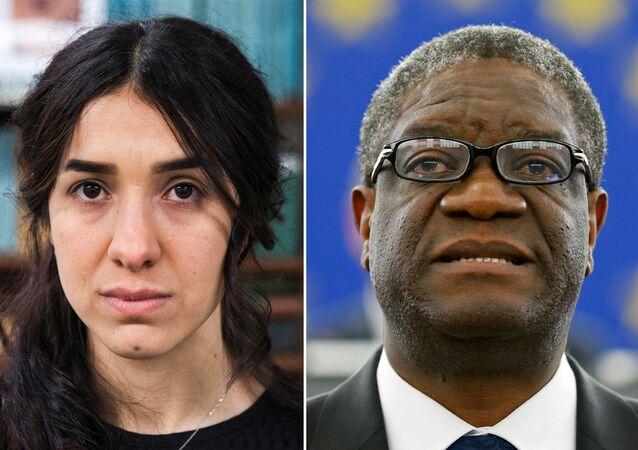 Colagem de fotos de arquivo dos ganhadores do Prêmio Nobel da Paz de 2018, ativista yazidi Nadia Murad e médico congolês Denis Mukwege