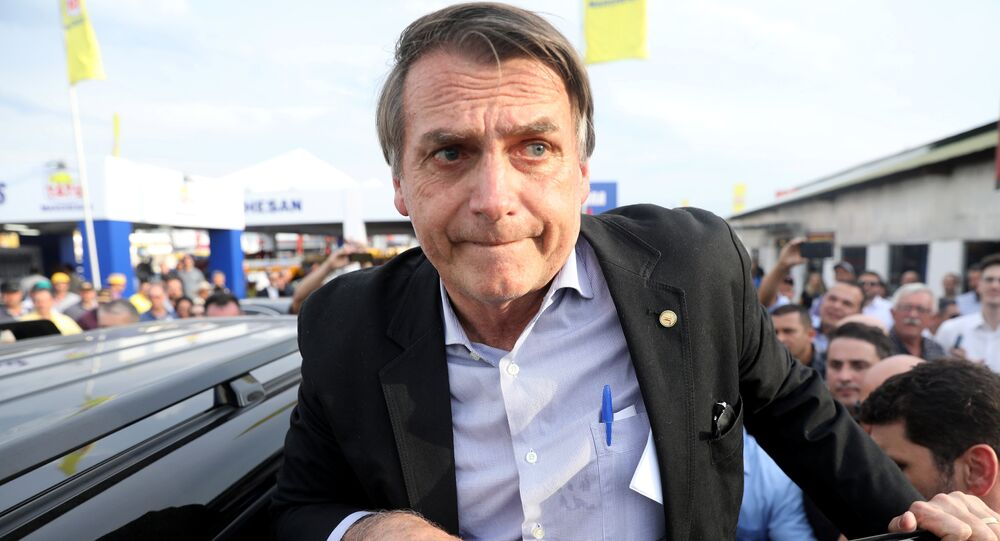 Candidato à presidência brasileira, Jair Bolsonaro, no estado de Rio Grande do Sul, em 29 de agosto de 2018