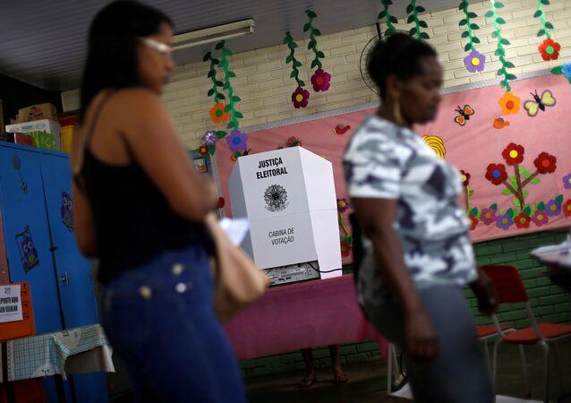 Seção eleitoral nas eleições de 2018 no Brasil, em 7 de outubro de 2018