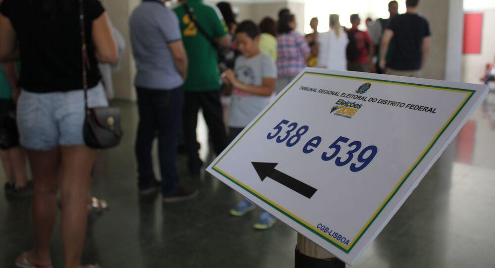 Seção eleitoral na Faculdade de Direito da Universidade de Lisboa, em 7 de outubro de 2018