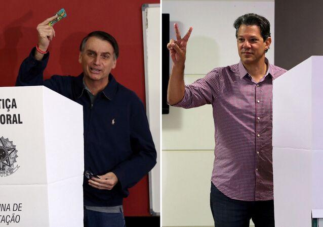 Jair Bolsonaro (dir.) e Fernando Haddad (esq.) durante votação no primeiro turno