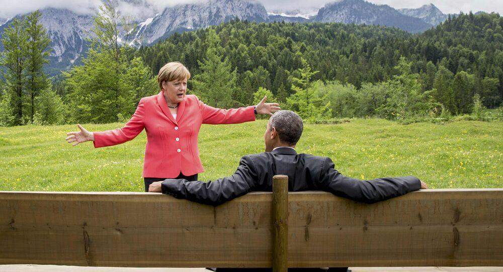 Merkel e Obama na cúpula de G7