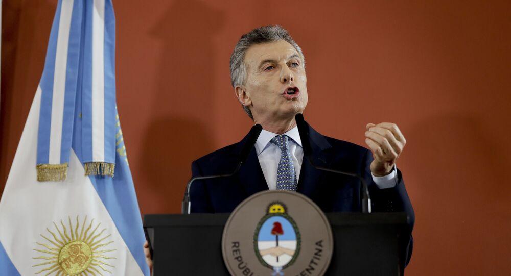 O ex-presidente da Argentina, Mauricio Macri, fala da sede do governo em Buenos Aires, Argentina, 27 de setembro de 2018
