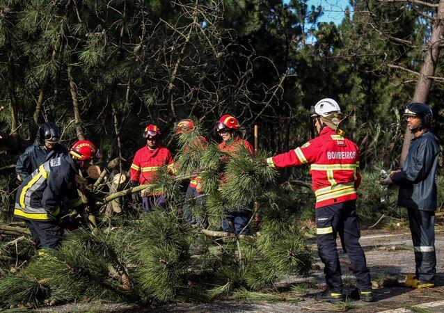 Bombeiros tentam remover árvores caídas após a passagem do furacão Leslie pela cidade costeira portuguesa de Figueira da Foz, em 14 de outubro de 2018