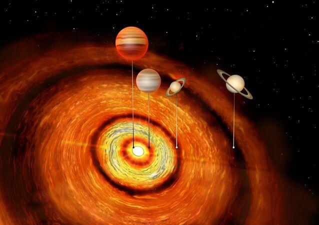 Estrela CI Tau com quatro planetas
