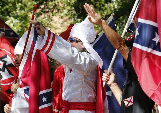 Manifestação da KKK em Charlottesville, no estado norte-americano da Virgínia, em julho de 2017