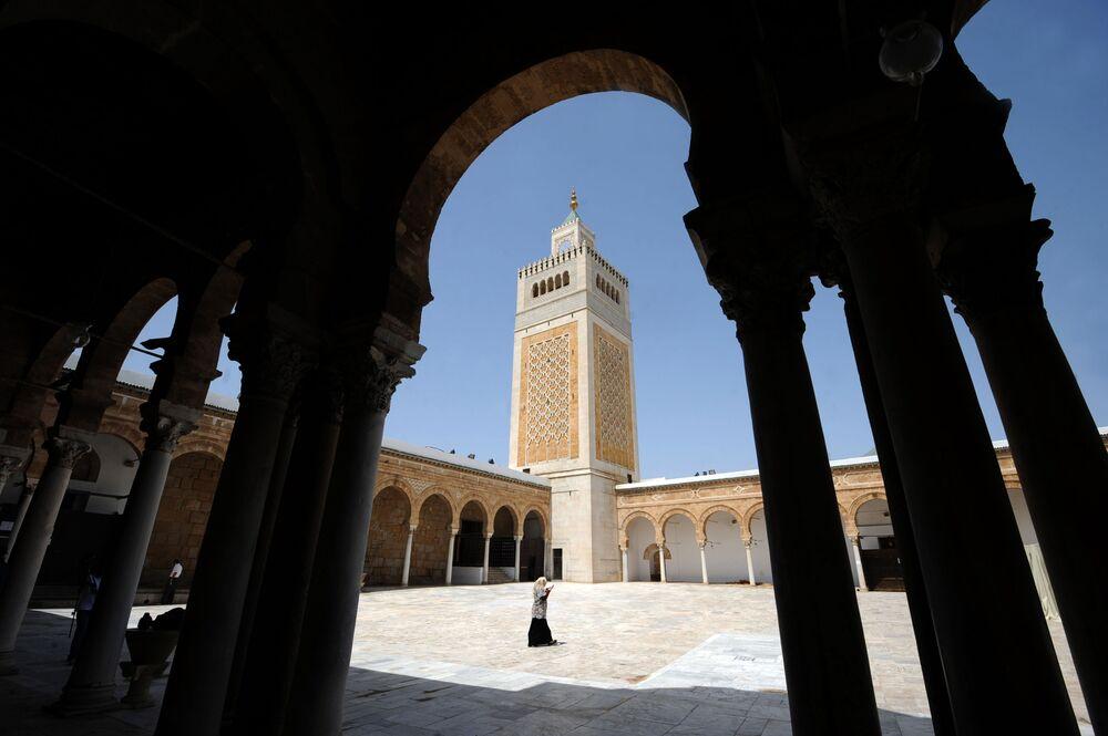 A mesquita Zitouna, uma das principais mesquitas da Tunísia