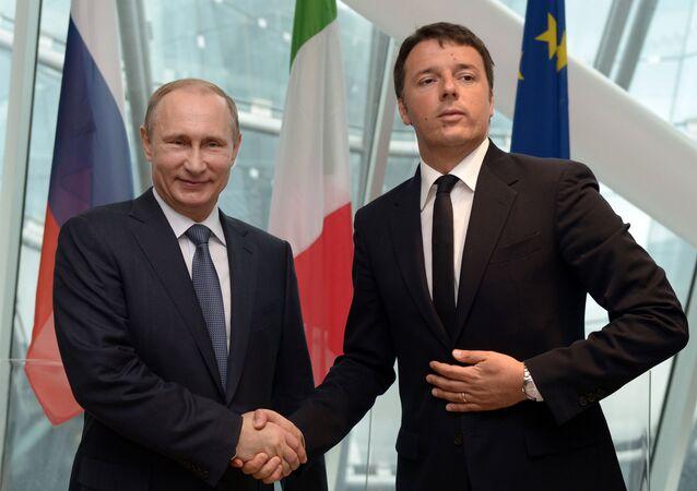 Vladimir Putin e Matteo Renzi na Expo 2015
