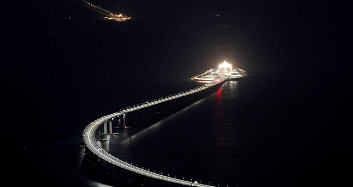 Ponte Hong Kong-Zhuhai-Macau vista da ilha de Lantau, em Hong Kong