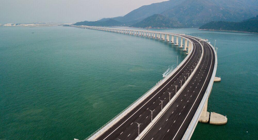 Vista aérea da ponte Hong Kong-Zhuhai-Macau