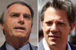 Candidatos à Presidência do Brasil Jair Bolsonaro (esq.) e Fernando Haddad (dir.).