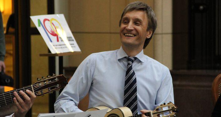 Músicos tocando durante a exposição dedicada ao 190° aniversário das relações bilaterais russo-brasileiras, no Ministério das Relações Exteriores da Rússia, em 26 de outubro de 2018