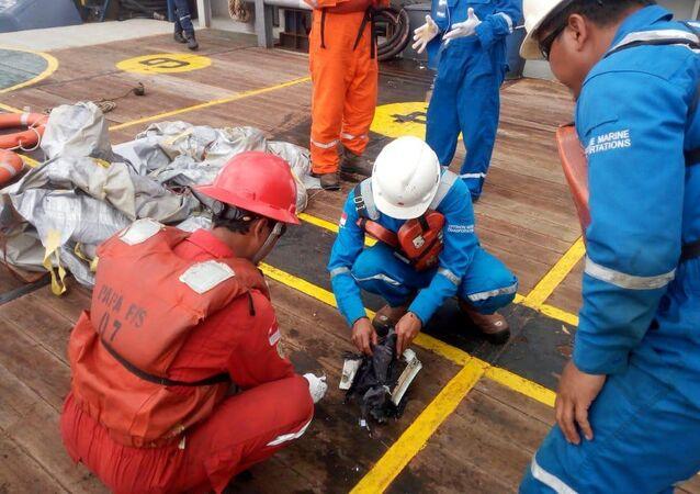 Supostos destroços do avião da Lion Air, do voo JT610, Indonésia, 29 de outubro de 2018