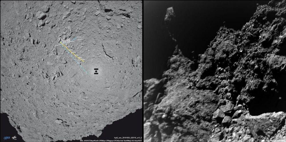 Mapa das deslocações (à esquerda) e a primeira foto transmitida pelo rover MASCOT do asteroide Ryugu