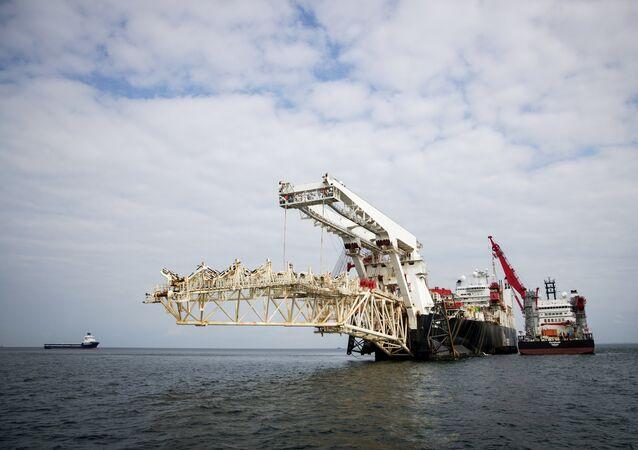 Nord Stream 2, em construção no Mar Báltico.
