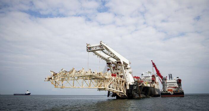 Nord Stream 2 em construção no mar Báltico (foto de arquivo)