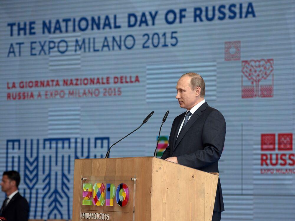 Presidente da Rússia Vladimir Putin discursa durante a abertura do dia nacional da Rússia na EXPO 2015, em Milão