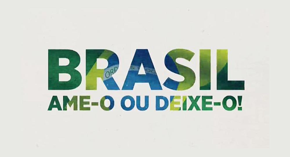 Brasil: Ame-o ou deixe-o: Vinheta veiculada na emissora de televisão SBT retoma slogan da Ditadura Militar.