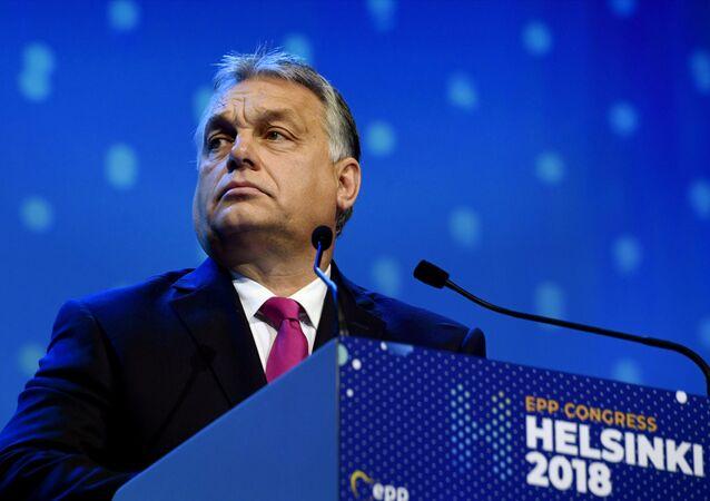O primeiro-ministro húngaro, Viktor Orban, no congresso do Partido Popular Europeu (EPP) em Helsinki.