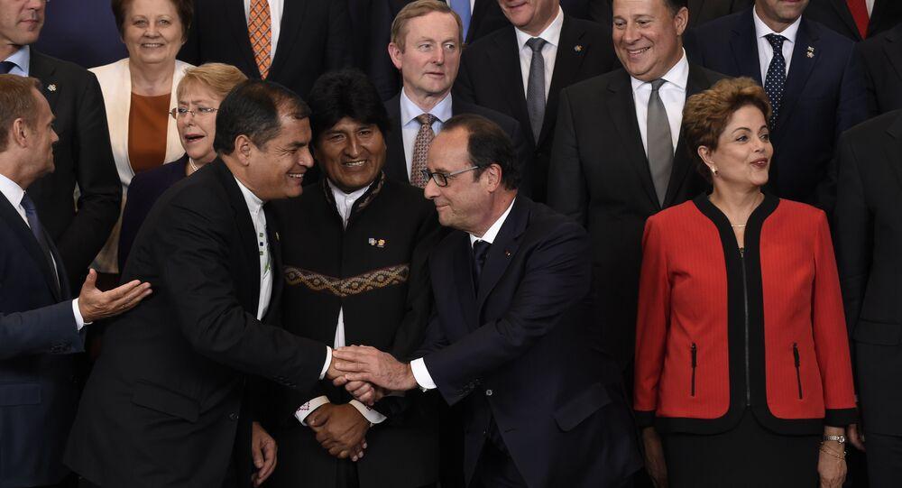 Rafael Correa, Evo Morales, François Hollande, Dilma Rousseff na cúpula UE-CELAC