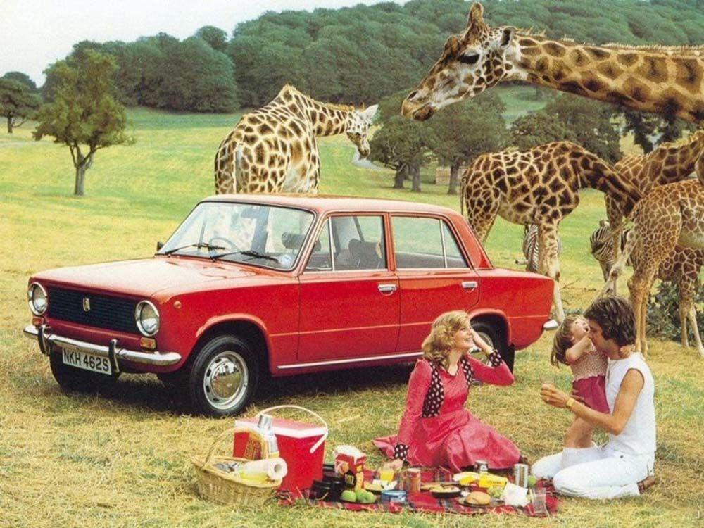 Publicidade do carro soviético Lada 1200 (21012 no Reino Unido)