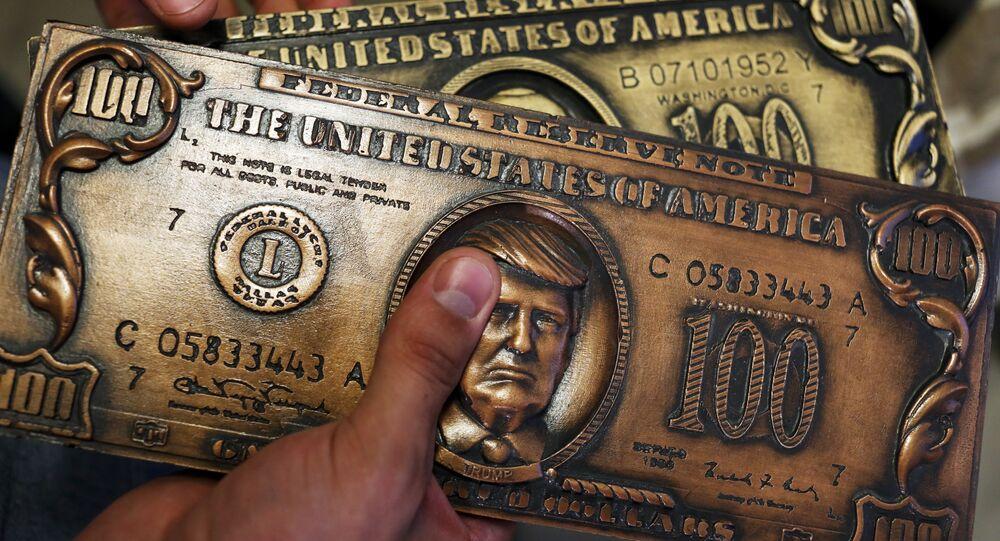 Chapa de impressão de cédulas souvenir com Donald Trump na face