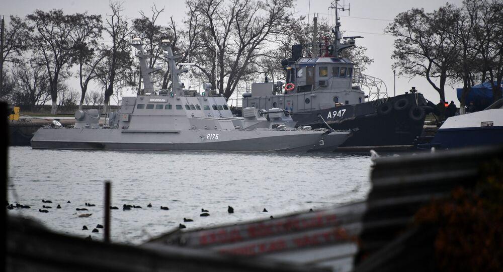 Três navios ucranianos, Berdyansk, Yanu Kapu e Nikopol, detidos pela parte russa por violar a fronteira, em 25 de novembro de 2018