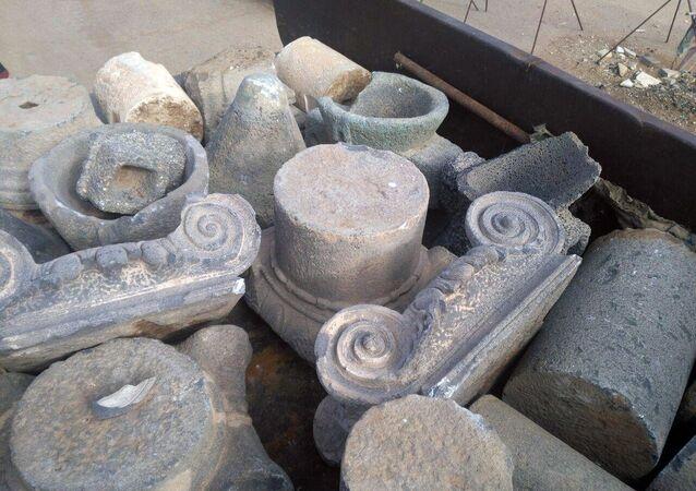 Artefatos do Museu de Bosra foram encontrados da província de Deraa, Síria